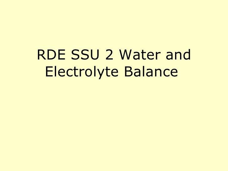 RDE SSU 2 Water and Electrolyte Balance