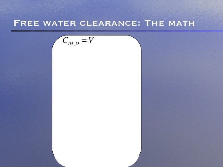 electrolyte free water clearance