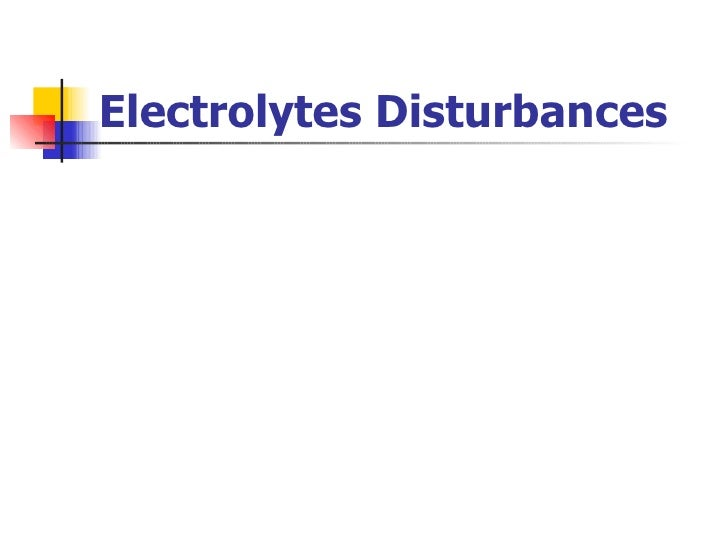 Electrolytes Disturbances