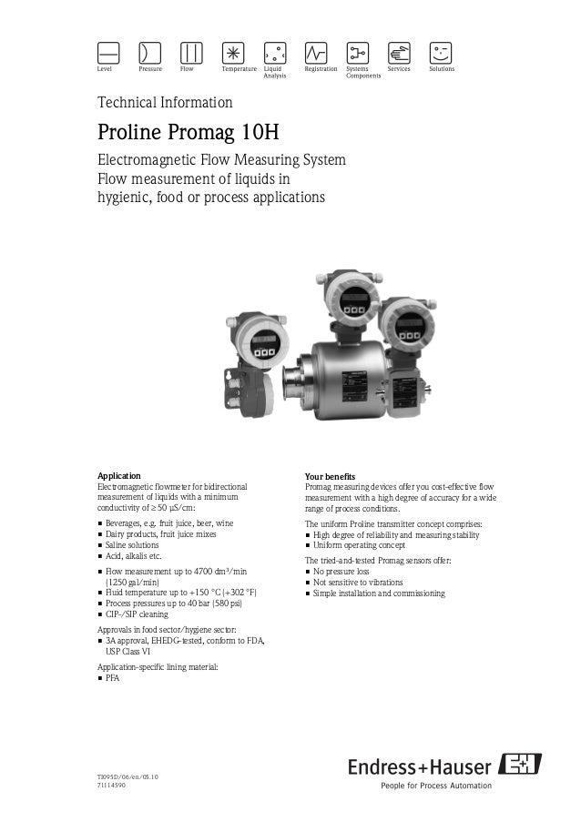 Electromagnetic flowmeter - Proline Promag 10H