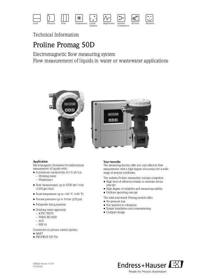 TI082D/06/en/11.0971105323Technical InformationProline Promag 50DElectromagnetic flow measuring systemFlow measurement of ...