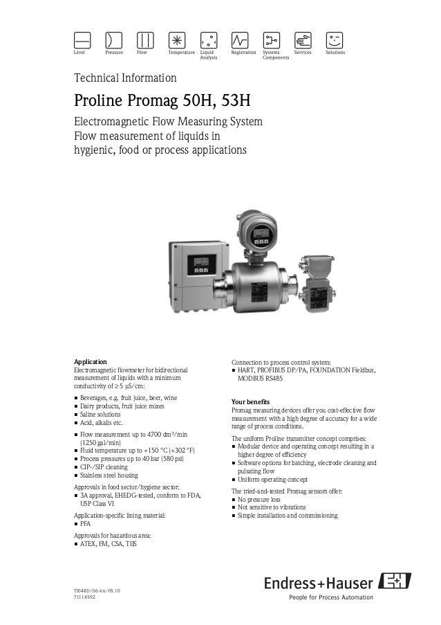 Electromagnetic flowmeter - Proline Promag 50H, 53H