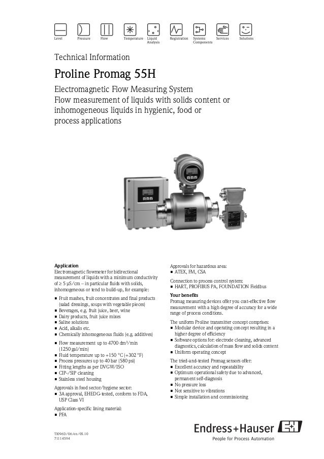 TI096D/06/en/05.1071114594Technical InformationProline Promag 55HElectromagnetic Flow Measuring SystemFlow measurement of ...
