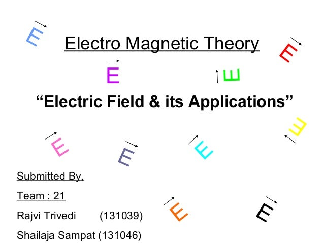 "Electro Magnetic Theory ""Electric Field & its Applications"" Submitted By, Team : 21 Rajvi Trivedi (131039) Shailaja Sampat..."