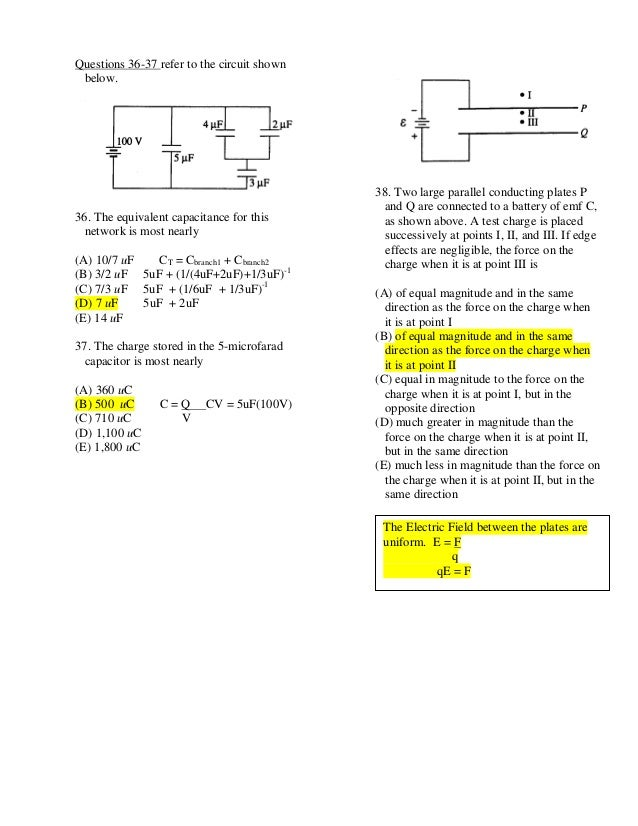 Electromagnetism Ap Multiplechoiceanswers2011 1