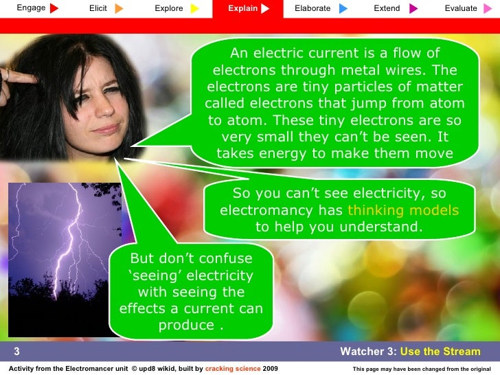 An electric current is a flow of electrons through metal wires. The electrons are tiny particles of matter called electron...