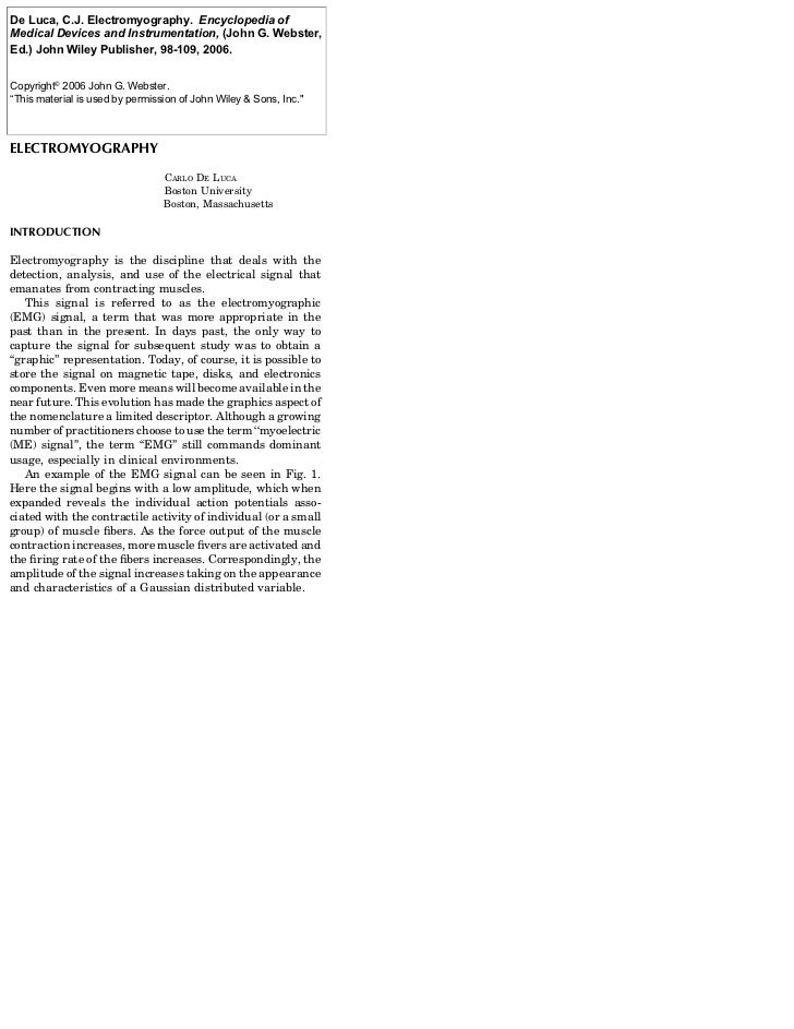 See also GASTROINTESTINALDe Luca, C.J. Electromyography.; GRAPHIC RECORDERS.                      HEMORRHAGE              ...