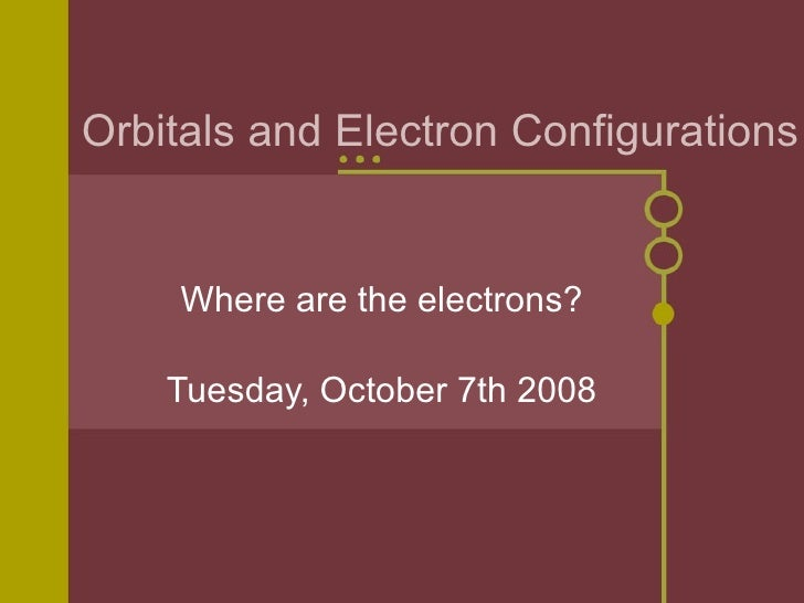 Orbitals and Electron Configurations Where are the electrons? Tuesday, October 7th 2008