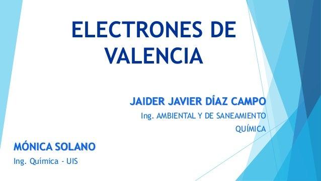 ELECTRONES DE  VALENCIA  JAIDER JAVIER DÍAZ CAMPO  Ing. AMBIENTAL Y DE SANEAMIENTO  QUÍMICA  MÓNICA SOLANO  Ing. Química -...