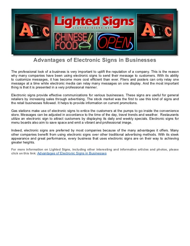 Advantages of Electronic Signs in BusinessesThe professional look of a business is very important to uplift the reputation...