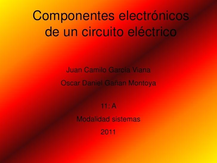 Componentes electrónicos de un circuito eléctrico     Juan Camilo García Viana    Oscar Daniel Gañan Montoya              ...