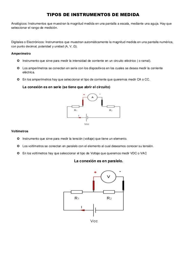 TIPOS DE INSTRUMENTOS DE MEDIDAAnalógicos: Instrumentos que muestran la magnitud medida en una pantalla a escala, mediante...