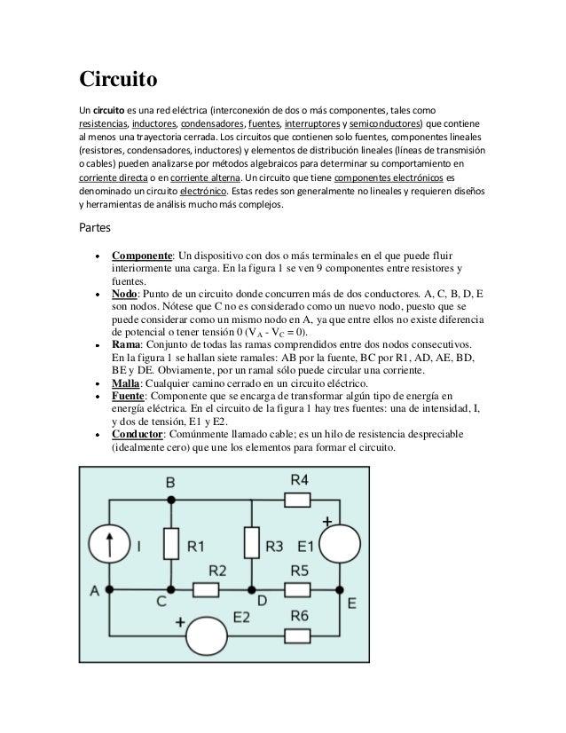 Circuito Un circuito es una red eléctrica (interconexión de dos o más componentes, tales como resistencias, inductores, co...