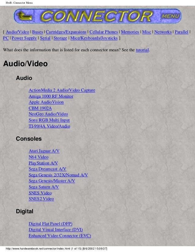 HwB: Connector Menu[ Audio/Video | Buses | Cartridges/Expansions | Cellular Phones | Memories | Misc | Networks | Parallel...