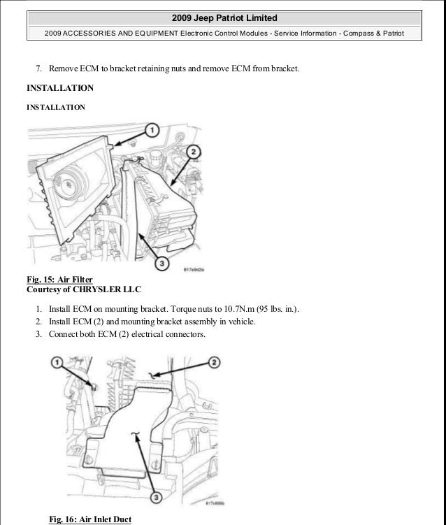 Manual reparacion Jeep Compass Patriot Limited 20072009Electronic – Jeep Patriot 2.0 Engine Diagram