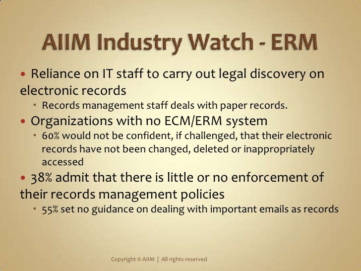 Reliance on IT staff to carry out legal discovery on electronic records<br />Records management staff deals with paper rec...