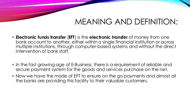 electronic fund transfer