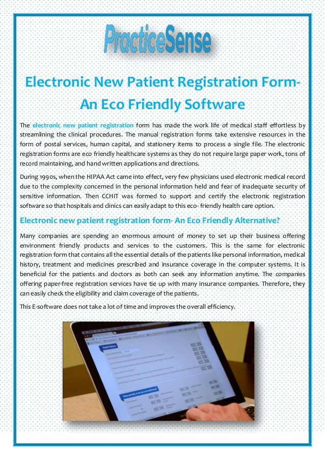 Electronic New Patient Registration Form- An Eco Friendly Software