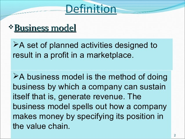 DefinitionBusiness model A set of planned activities designed to result in a profit in a marketplace. A business model ...