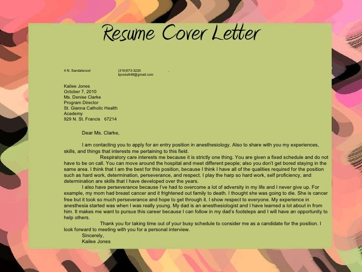 cover letter anesthesiologist position