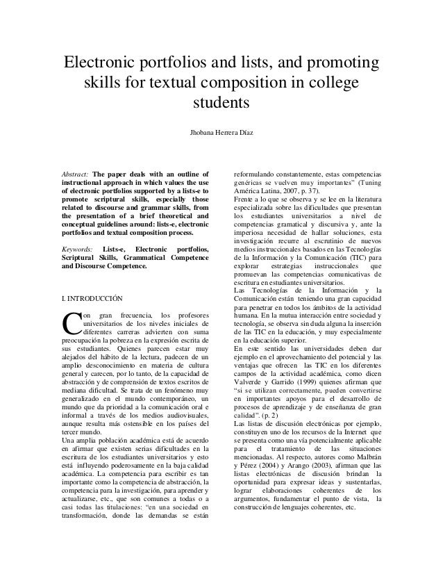 Electronic portfolios and lists, and promoting skills for textual composition in college students Jhobana Herrera Díaz Abs...