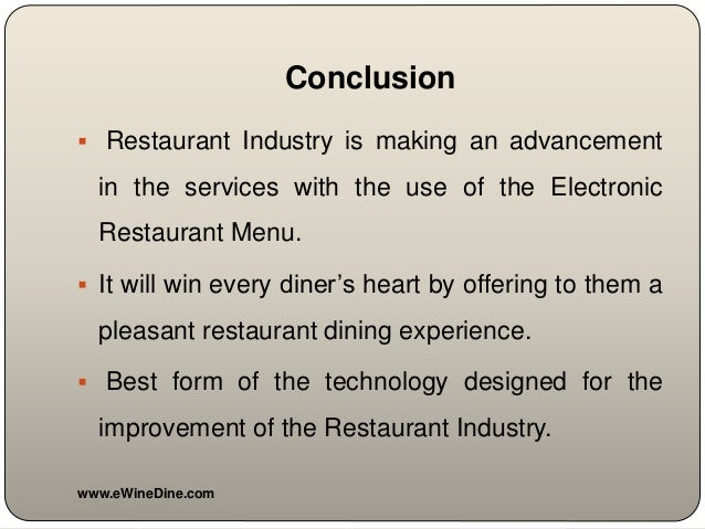 restaurant conclusion Projects a to z specials, $200 off interior design discount for first time sign up and unlimited revisions within 6 months contact us now the location of the restaurant calls for two important things - sophistication and style.