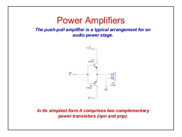 Power Amplifiers The push-pull amplifier is a typical arrangement for an audio power stage. +V  Vi  -V  In its simplest fo...