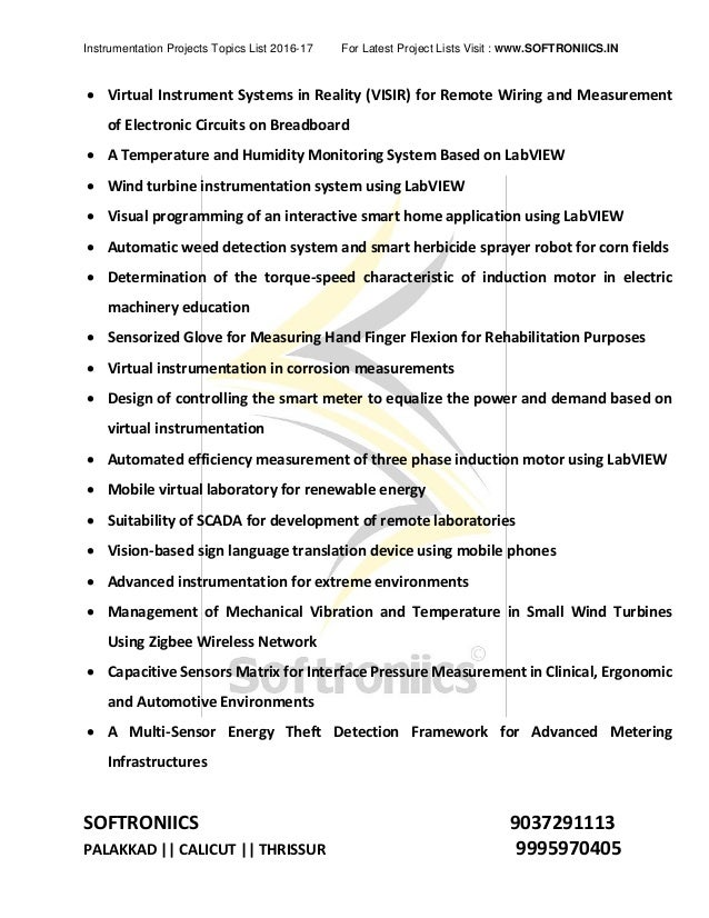 Electronics and instrumentation project topic list 2016 2017 softroni…