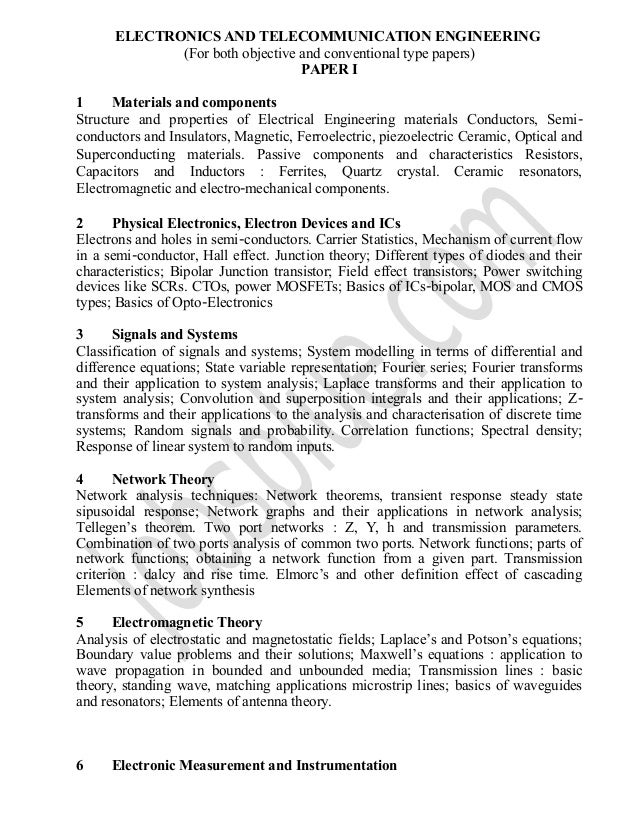 Electronics and telecommunication engineering ies syllabus