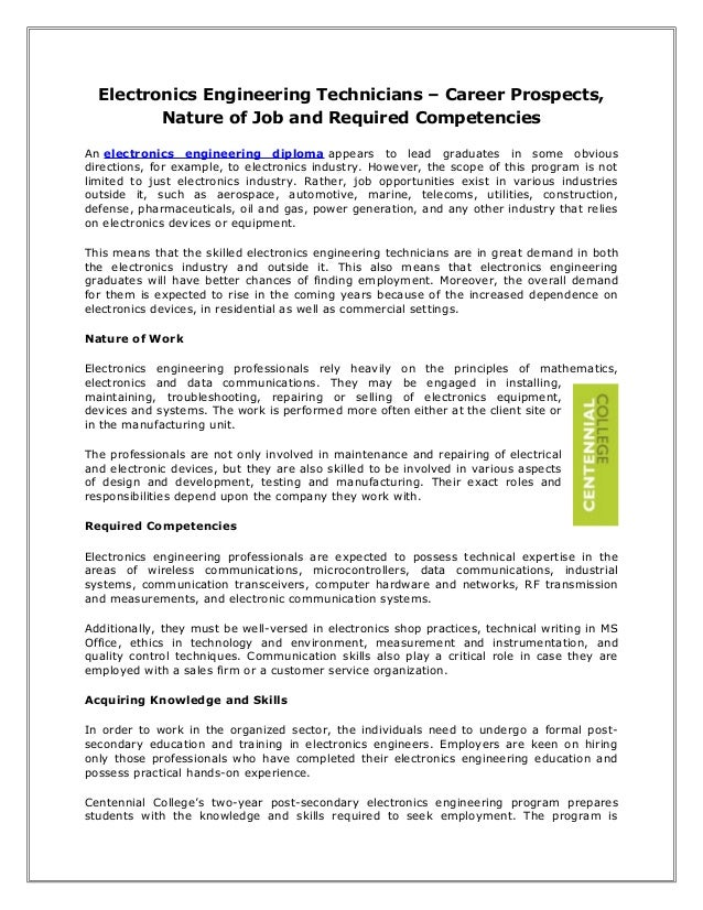 Electronics Engineering Technicians – Career Prospects, Nature of Job and Required Competencies An electronics engineering...