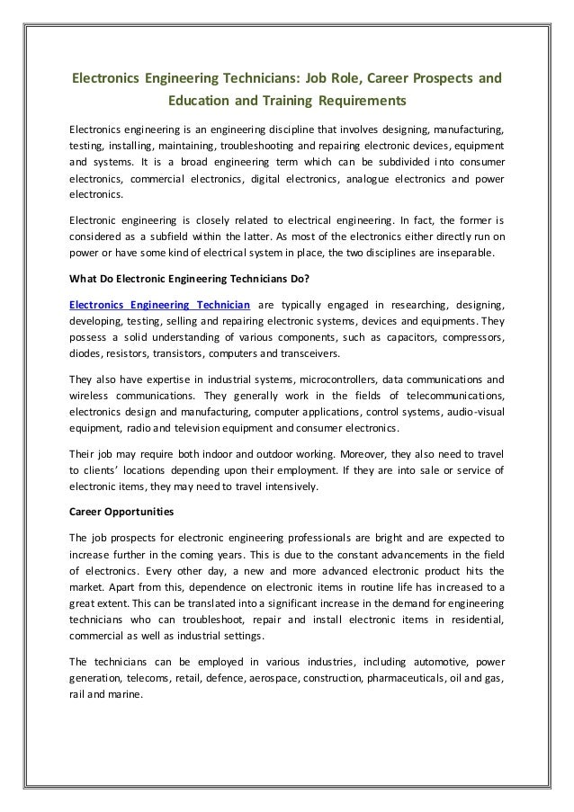 Electronics Engineering Technicians: Job Role, Career Prospects and Education and Training Requirements Electronics engine...