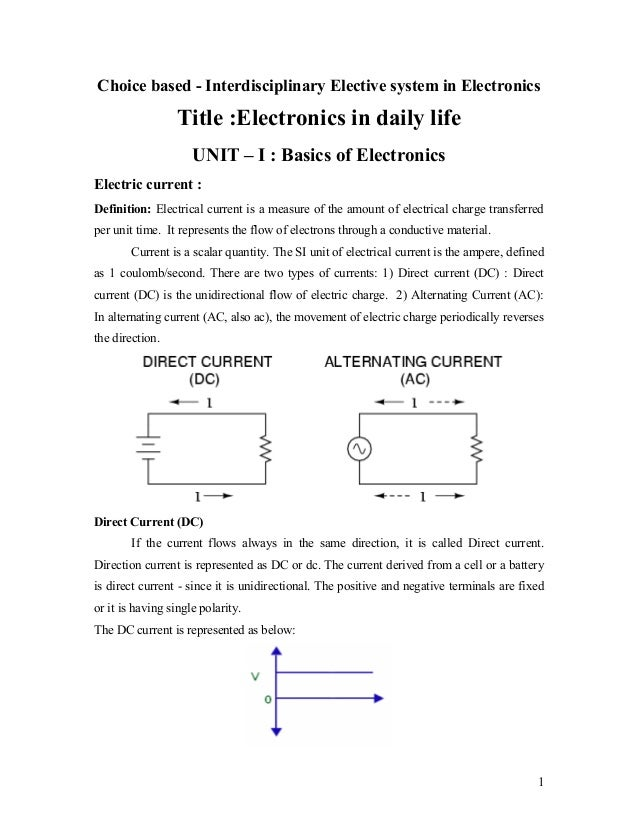 Choice based - Interdisciplinary Elective system in Electronics                  Title :Electronics in daily life         ...