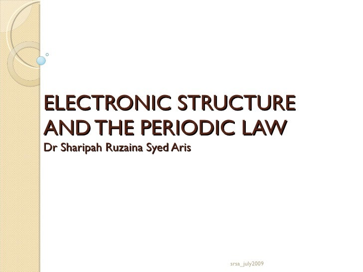 ELECTRONIC STRUCTURE  AND THE PERIODIC LAW Dr Sharipah Ruzaina Syed Aris srsa_july2009