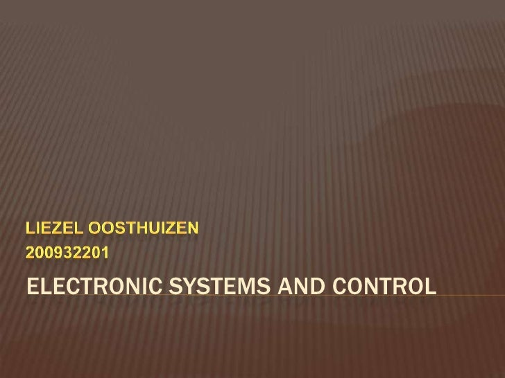 ELECTRONIC SYSTEMS AND CONTROL