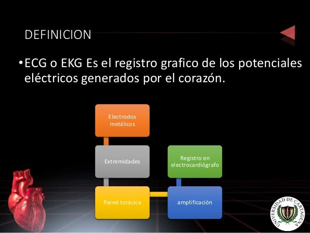 DEFINICION •ECG o EKG Es el registro grafico de los potenciales eléctricos generados por el corazón. Electrodos metálicos ...