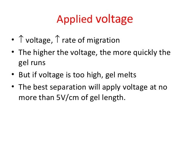 Applied voltage • ↑ voltage, ↑ rate of migration • The higher the voltage, the more quickly the gel runs • But if voltage ...