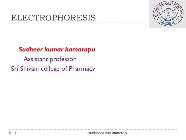 ELECTROPHORESIS   Sudheer kumar kamarapu     Assistant professorSri Shivani college of Pharmacy 1                         ...