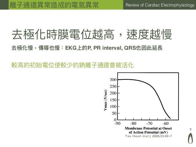 ? Review of Cardiac Electrophysiology 去極化時膜電位越⾼高,速度越慢 較⾼高的初始電位使較少的鈉離⼦子通道會被活化 去極化慢,傳導也慢:EKG上的P, PR interval, QRS也因此延長 離⼦子通道...