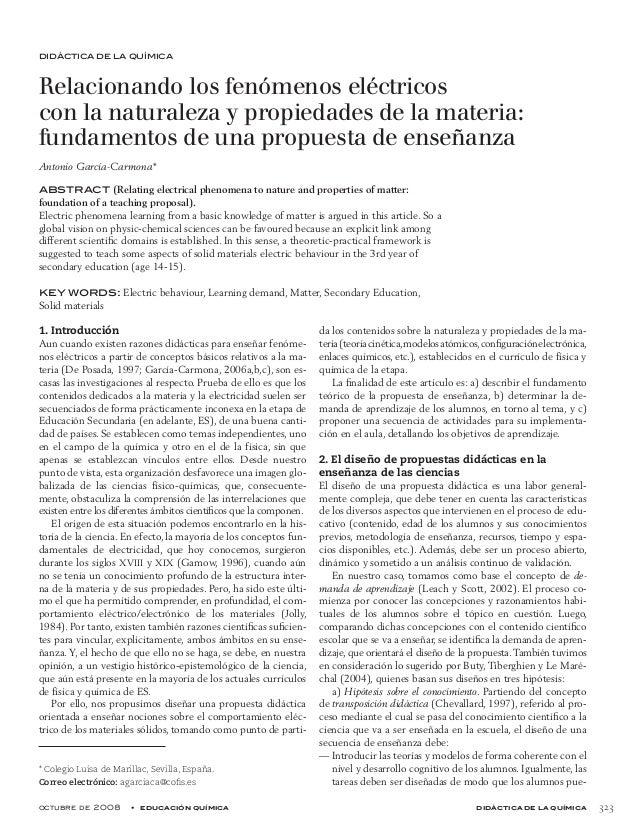 octubre de 2008 • educación química didáctica de la química 323 didáctica de la química * Colegio Luisa de Marillac, Sev...