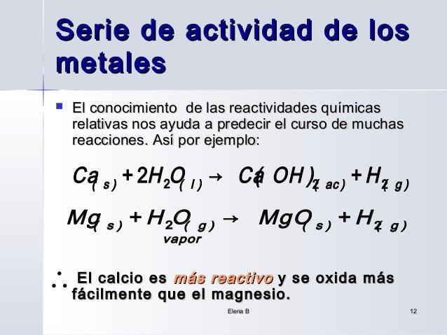 Serie de actividad de losmetales   El conocimiento de las reactividades químicas    relativas nos ayuda a predecir el cur...