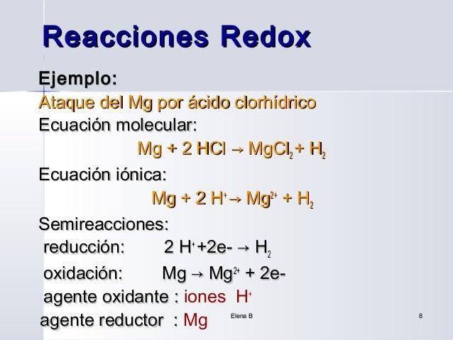 Reacciones RedoxEjemplo:Ataque del Mg por ácido clorhídricoEcuación molecular:            Mg + 2 HCl → MgCl2 + H2Ecuación ...
