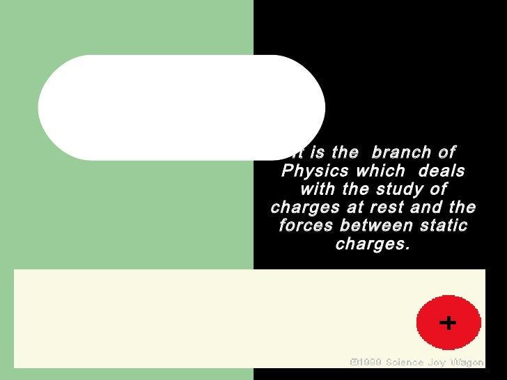 ELECTROSTATICS It is the  branch of Physics which  deals with the study of charges at rest and the forces between static c...