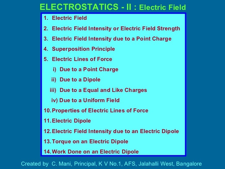 ELECTROSTATICS - II :  Electric Field Created by  C. Mani, Principal, K V No.1, AFS, Jalahalli West, Bangalore <ul><li>Ele...