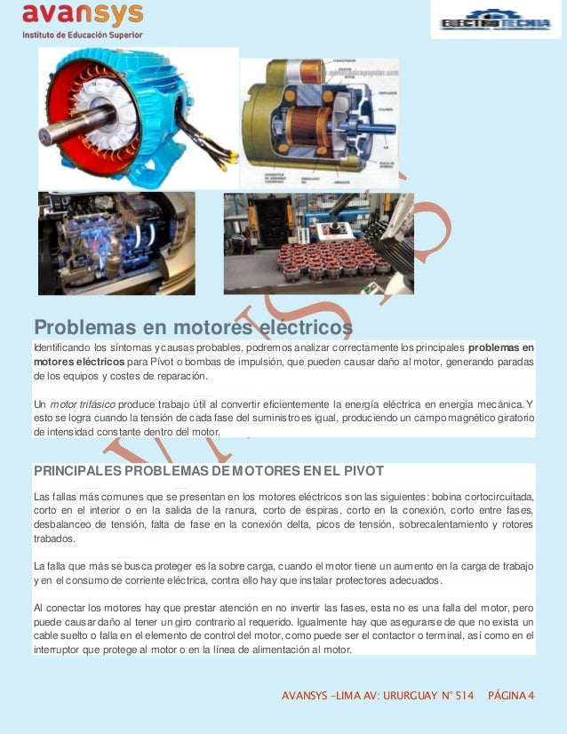 Principales fallas en motores eléctricos