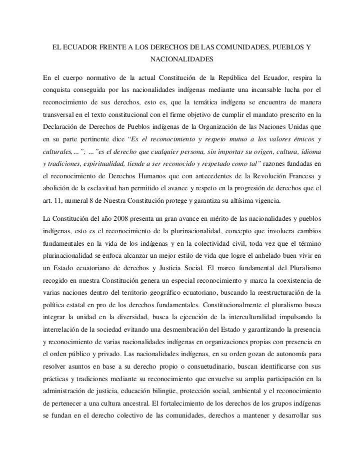 EL ECUADOR FRENTE A LOS DERECHOS DE LAS COMUNIDADES, PUEBLOS Y                                     NACIONALIDADESEn el cue...
