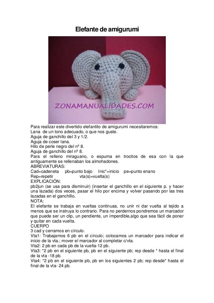 Free Elephant Crochet pattern (Free Amigurumi Patterns) | Patrones ... | 1031x728