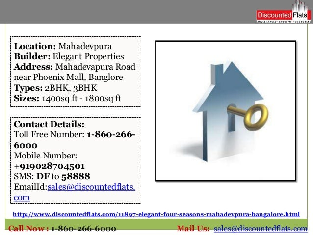 http://www.discountedflats.com/11897-elegant-four-seasons-mahadevpura-bangalore.html Location: Mahadevpura Builder: Elegan...