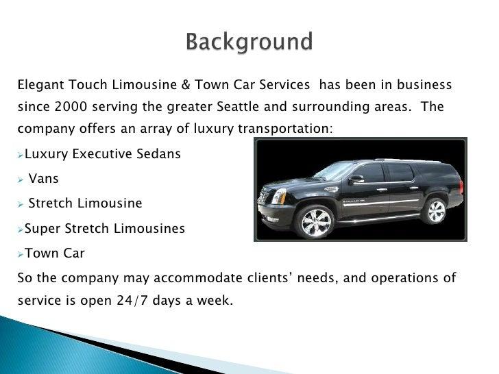 elegant touch limousine  u0026 town car service proposal