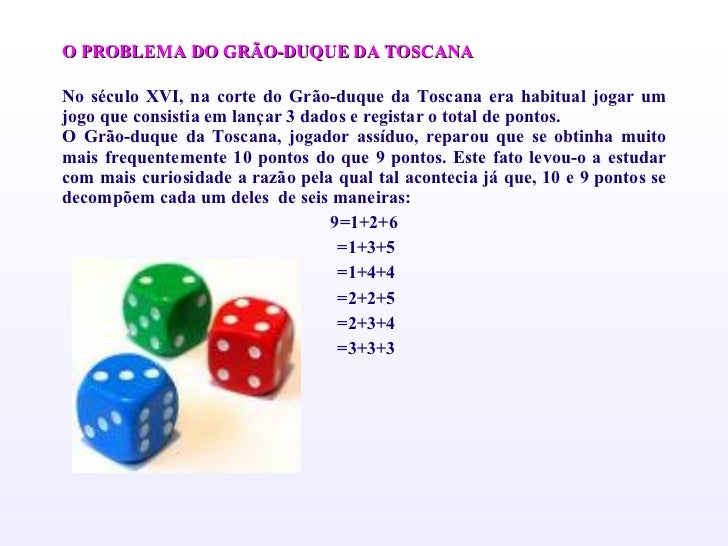 <ul><li>O PROBLEMA DO GRÃO-DUQUE DA TOSCANA </li></ul><ul><li> </li></ul><ul><li>No século XVI, na corte do Grão-duque da...