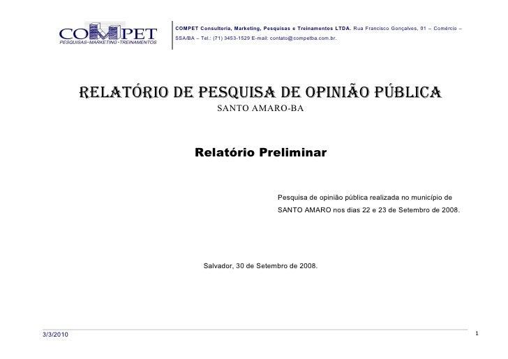 COMPET Consultoria, Marketing, Pesquisas e Treinamentos LTDA. Rua Francisco Gonçalves, 01 – Comércio –                    ...